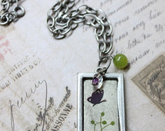 Resin Butterfly Garden Picture Frame Pendant Necklace