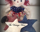 Primitive Americana Rag Doll with Bowl Fillers Ornies Pillow Tucks Red White Blue HaFair, HAFMDC, OFG