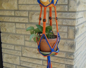 Vintage Poly Cord Orange and Blue Plant Hanger by Debi