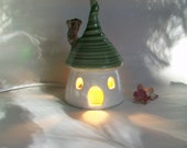 Fairy House for the Garden - as a Night Light  - in the Fish Bowl - with a  Green Roof --
