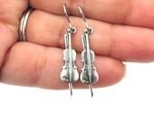Little Violin Earrings- Sterling Silver Ox Finish- Small Violin Dangle Earrings