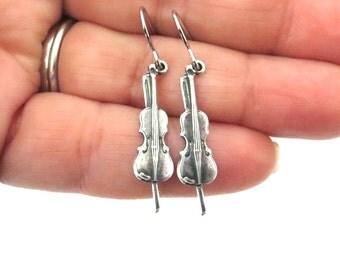 Little Violin Earrings- Sterling Silver Ox or Brass Finish- Small Violin Dangle Earrings