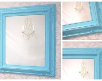 "VANITY MIRRORS For Sale - Aqua Blue White Framed Baroque Bathroom Vanity Mirror Baby Nursery Decor 27""x23"" Ornate Unique Mirror Rectangle"