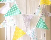 Nautical Bunting Banner, Fabric Pennant Flags Garland, Mint, Yellow, Grey, Blue Anchor, Starfish, Whale Baby Boy Nursery Decor, Baby Shower