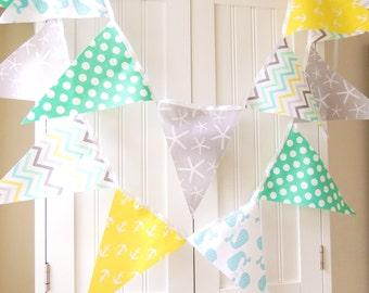 Nautical Bunting Banner, Fabric Pennant Flags Garland, Mint, Yellow, Grey, Blue Anchor, Starfish, Whale Baby Boy Nursery Decor, Baby Shower