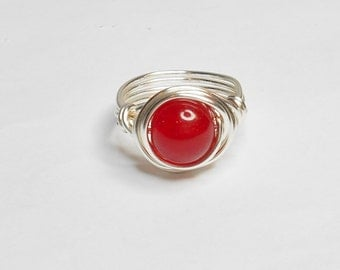Red Jade and Silver Handmade Wire Wrapped Ring
