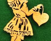 Wood Victorian Girl Ornament