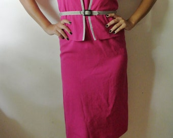 Vintage Pink Two Piece Dress Set with Belt Size Medium 9-10 Gift For Girlfriend