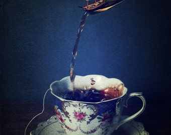 Still life, tea cup photograph, Fine Art , Surreal, Whimsical, Ship, Boat, Vintage, Teacup, Drink, Kitchen, Dark, Blue, Sea, Adventure, Blue