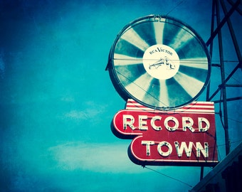 Fine Art Photography, Neon Sign, Vinyl Record Art, Record Store, Fort Worth Texas, Gift for Him, Retro, Music Lover, Wall Decor, Mid Century