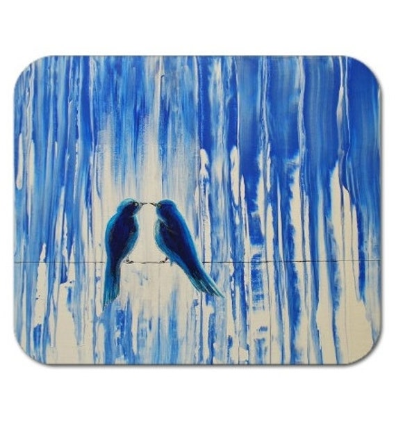 Mousepad Mouse Pad Fine Art Painting In the Calm Rain Birds On A Wire Lovebirds Bluebirds Rainy