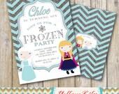 Frozen Inspired Birthday Party Invitation- DIY / Printable / Frozen / Elsa / Anna / Silver Glitter / Chevron