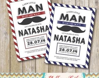 Little Man Moustache Baby Shower Invitation- Printable / DIY / Moustache / Baby Boy / Baby Shower