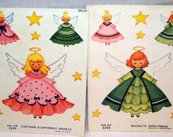 Vintage 1950's McCall's Appli-Press Christmas Angel  Fabric Appliques