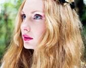 Black and Gold Rose Flower Crown, Black Flower Crown, Gold Headband, Festival Bohemian Crown, Bridal Flower Headband, Floral Garland