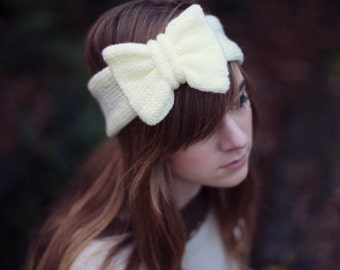 Lemon Yellow Knitted Bow Headband, Knitted Headband, Cute and Cosy Ear Warmer in Pastel Sparkly Glitter