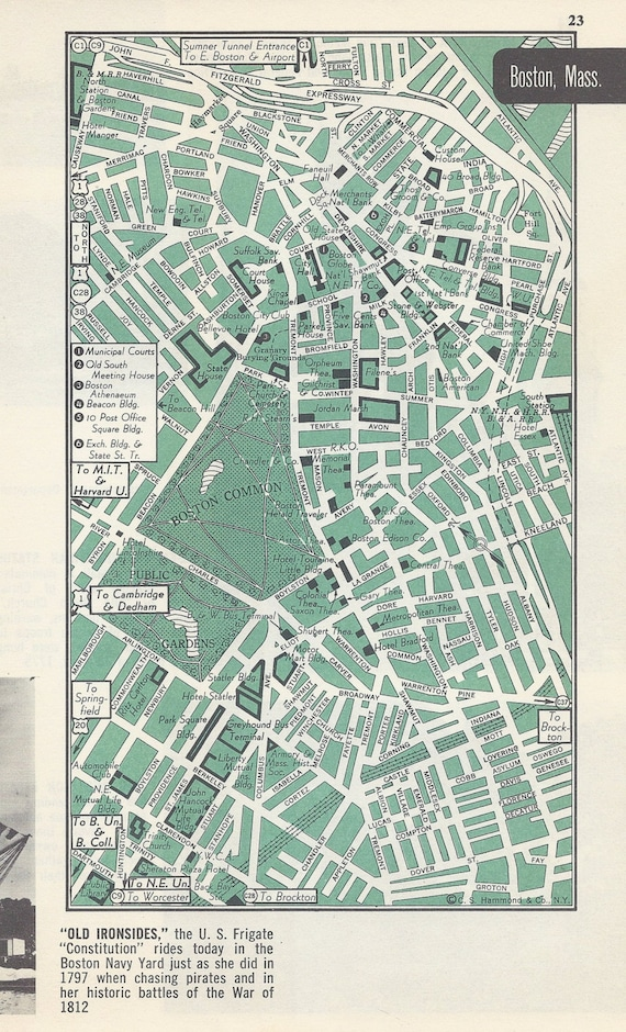 Boston Massachusetts City Map Street Map 1950s By