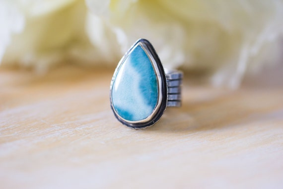 Larimar Ring in Sterling Silver Cocktail Ring  - Size 7.5 - Lightness of Being