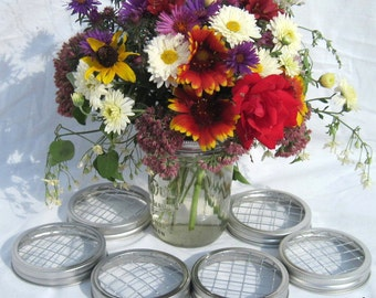 DIY Flowers 6 Wide Ball Jar Centerpiece Mason Jar Wedding Flower Frog Lids, Garden, Flower Arrangement Wide Mouth Lids Only, No Jars
