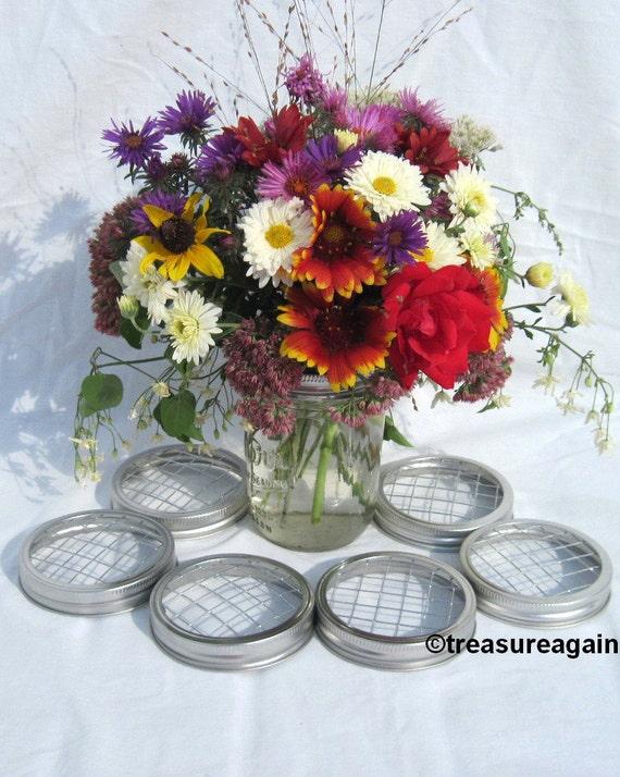 DIY Flowers 6 Wide Ball Jar Centerpiece Mason Jar Wedding Flower Frog Lids, Garden, Flower Arrangement Wide Mouth Lids Only, No Jars