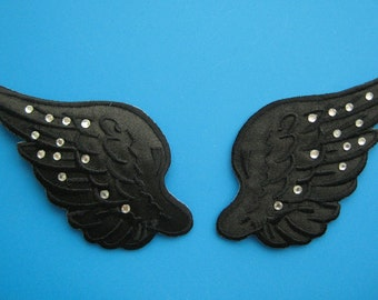 SALE~ 2 pcs iron-on Embroidered Patch Black Wings w/ shining rhinestuds 3.5 inch