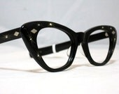 Vintage 50s Cat Eye Glasses. New Old Stock Black with Rhinestones