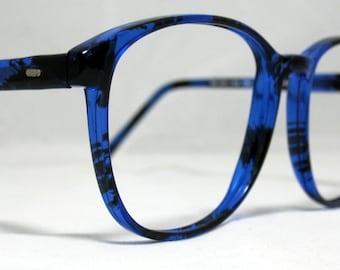 Vintage 80s Large Horn Rim Eyeglass Frames. Blue and Black Tortoise
