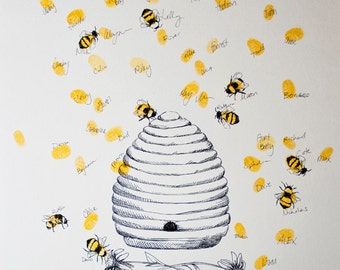 Honey Bee Hive with thumbprint bees, Guest book fingerprint alternative art (with 1 ink pad)