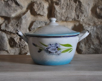 Antique French Country Hand Painted Enamel Casserole