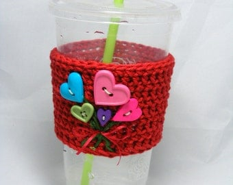 Crochet Coffee Sleeve Button Flowers or button Balloons coffee cozy - handleless for disposable cup hot cup jacket