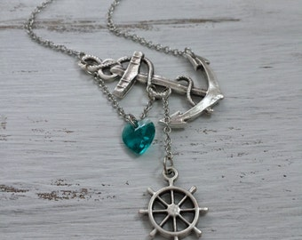 Anchor Necklace, Anchor with Heart, Sideway Anchor, Cruise Necklace, Sailing Necklace, Nautical Jewelry, Anchor Jewelry, Sea, Ocean Necklace