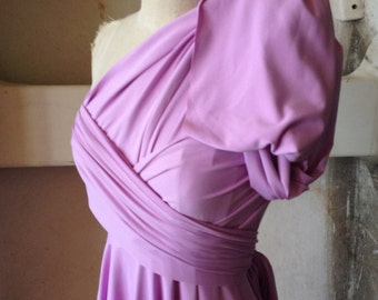 Maiden Voyage Lilac -Octopus Convertible Wrap Circle Skirt Dress- Customize hem, length and size