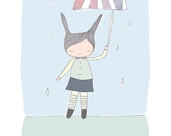 Child Art - Bunny Rabbit - Honey Cup's World - Raindrops with Umbrella  Illustration