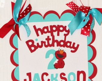 Elmo Happy Birthday Door Sign - Red Turquoise / Personalized