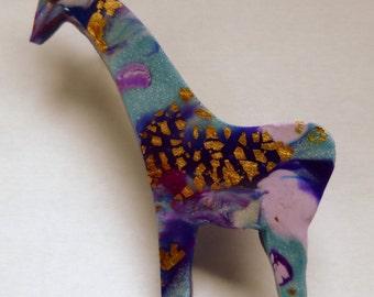 Giraffe Brooch Pin African Animal Brooch Hand Made