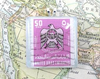 Vintage United Arab Emirates Postage Stamp Necklace Pendant