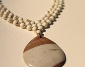 Striped Sand Stone Colored Jasper Stone with Howlite Beaded Collar