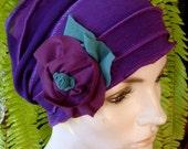 Womens Chemo Hat gypsy hat soft Flapper Purple Chemotherapy Alopecia Beanie with Flower
