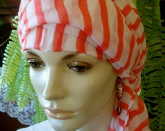 womens Chemo Hat Headscarf Red and White Stripe Elegant Turban Headwrap headwear headcover headscarf  bohemian chemo hat flapper 1920s