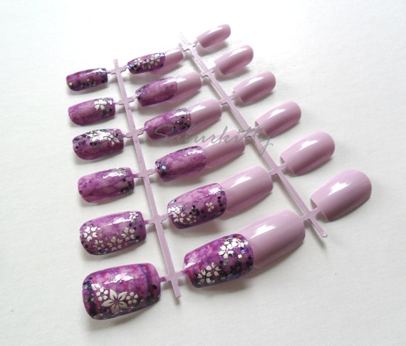 African Nail Art: Items Similar To African Violet Nail Art Semi 3D Purple