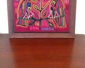 Mola Art Form - Vintage Framed Mola Folk Art  -  Cuna Indians From Panama - Wall Hanging Parrots