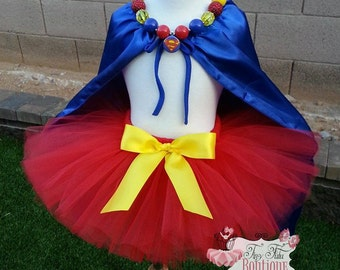 SUPER MAN inspired SUPERHERO- Red, Yellow, Blue toddler/child Tutu/Cape Set- Newborn-5t