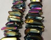 Purple Peacock - Titanium Coated Quartz Points - Center Drilled - Rainbow Quartz - 5 beads