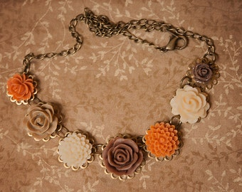 Handmade Flower Necklace Brown Rose Necklace Orange Flower Necklace Brown Flower Necklace Fall Wedding Necklace Fall Bridesmaid Fall Flower