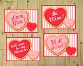 Valentine SUGAR COOKIE Valentines : DIY Printable Valentine Cards // Heart // Sweet Love // Conversation Hearts - Instant Download