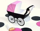 Baby Carriage Favor Box - Pink & Black : DIY Printable Baby Buggy Gift Box | Pram | Baby Girl | Baby Shower Favor - Instant Download