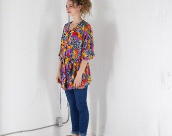 Tropical Bomber Vest / Short Sleeve Jungle Button Up / Animal Prints Bomber