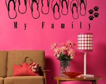 Vinyl Wall Art Decal Sticker Sandals Family 5033s