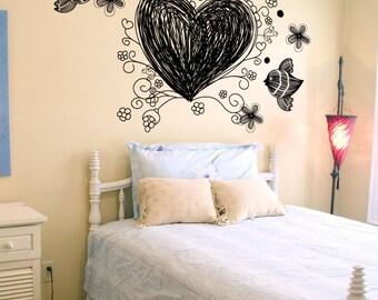 Vinyl Wall Decal Sticker Doodle Heart 1344s