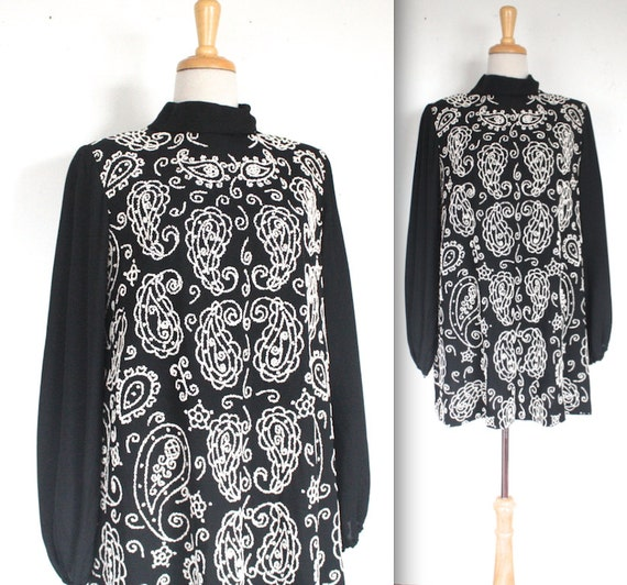 1960 s dress 60s black and white shell beaded mod party dress